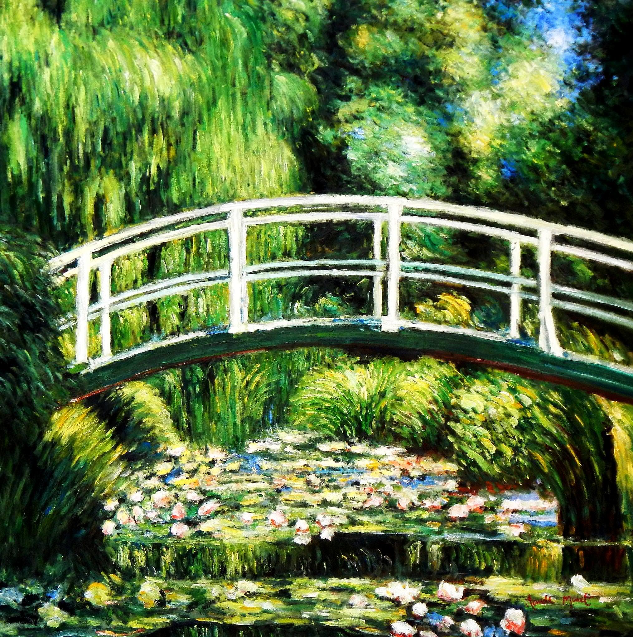 Claude Monet - Japanische Brücke m93807 120x120cm Ölgemälde handgemalt Museumsqualität