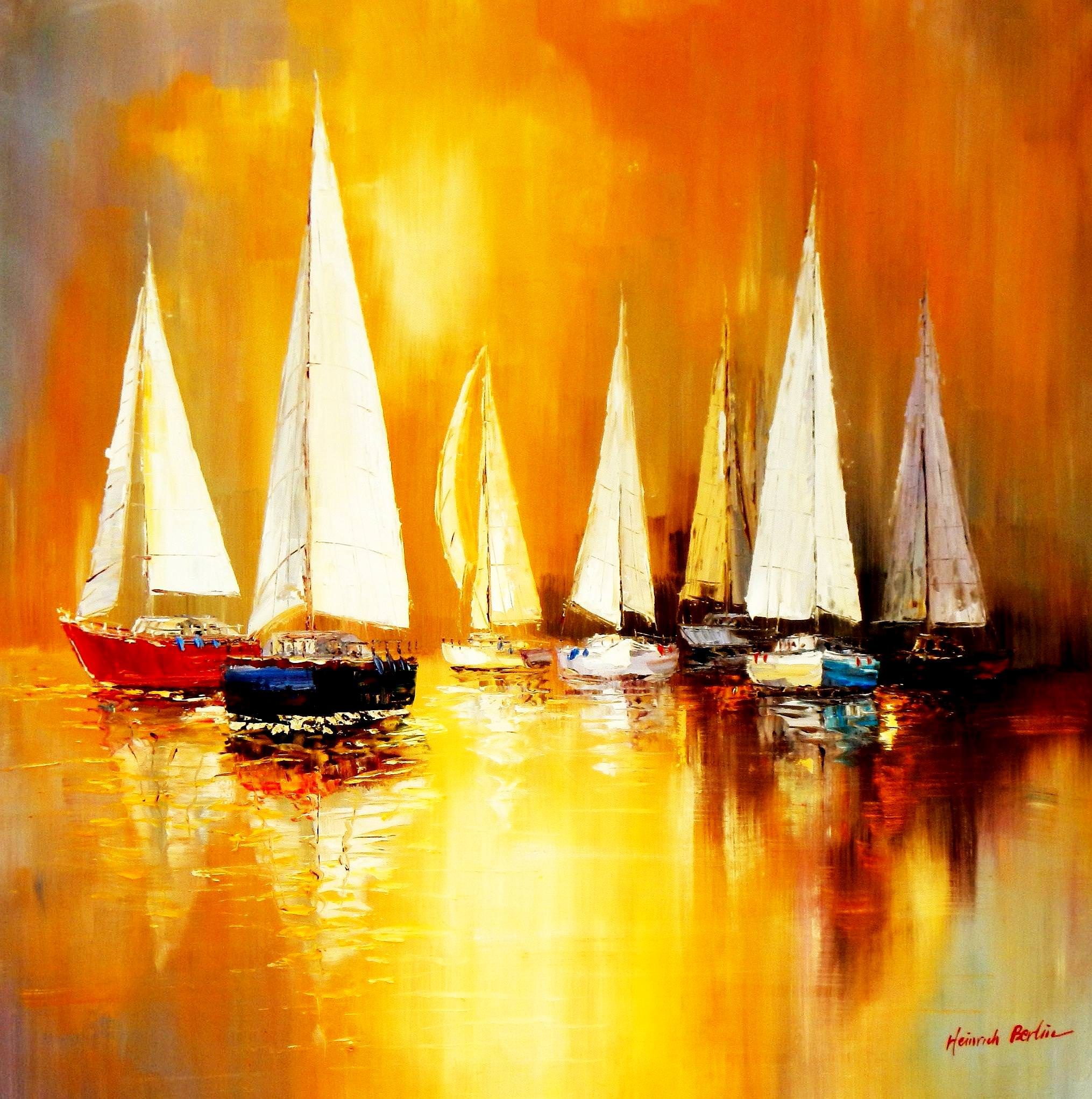 Segelboote auf dem Gardasee m93815 120x120cm modernes Gemälde handgemalt Museumsqualität