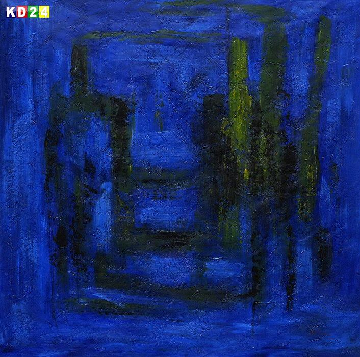 Abstract - Venice in the moonlight m84017 120x120cm abstraktes Ölbild