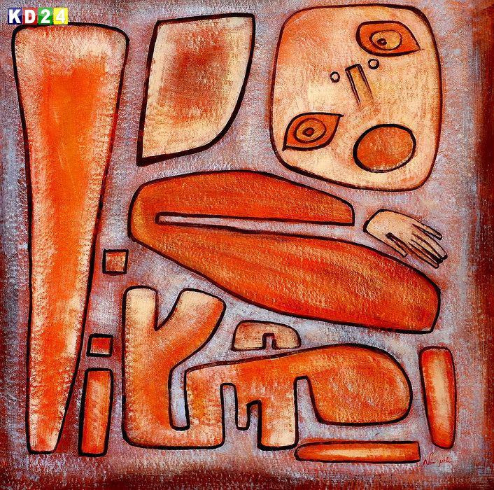 Paul Klee - Angstausbruch III m84018 120x120cm abstraktes Gemälde handgemalt
