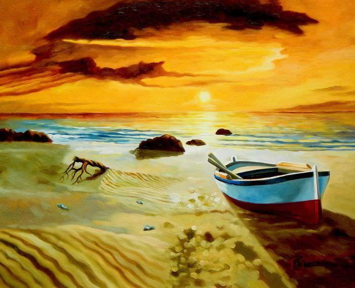 Sonnenuntergang am Strand von Sylt b91036 G 40x50cm exzellentes Ölgemälde