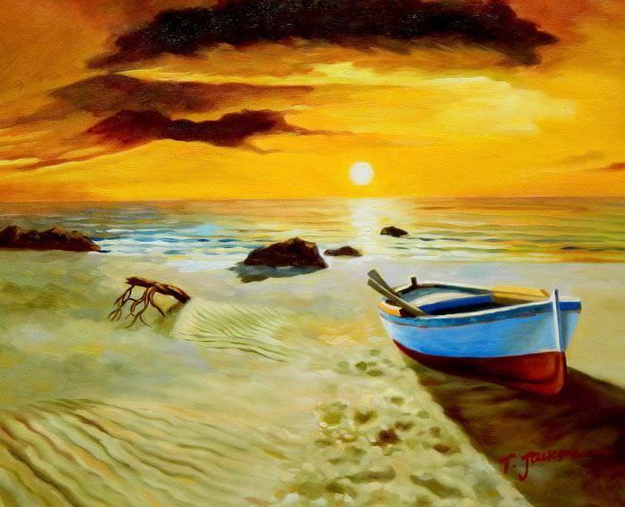 Sonnenuntergang am Strand von Sylt b91037 40x50cm exzellentes Ölgemälde