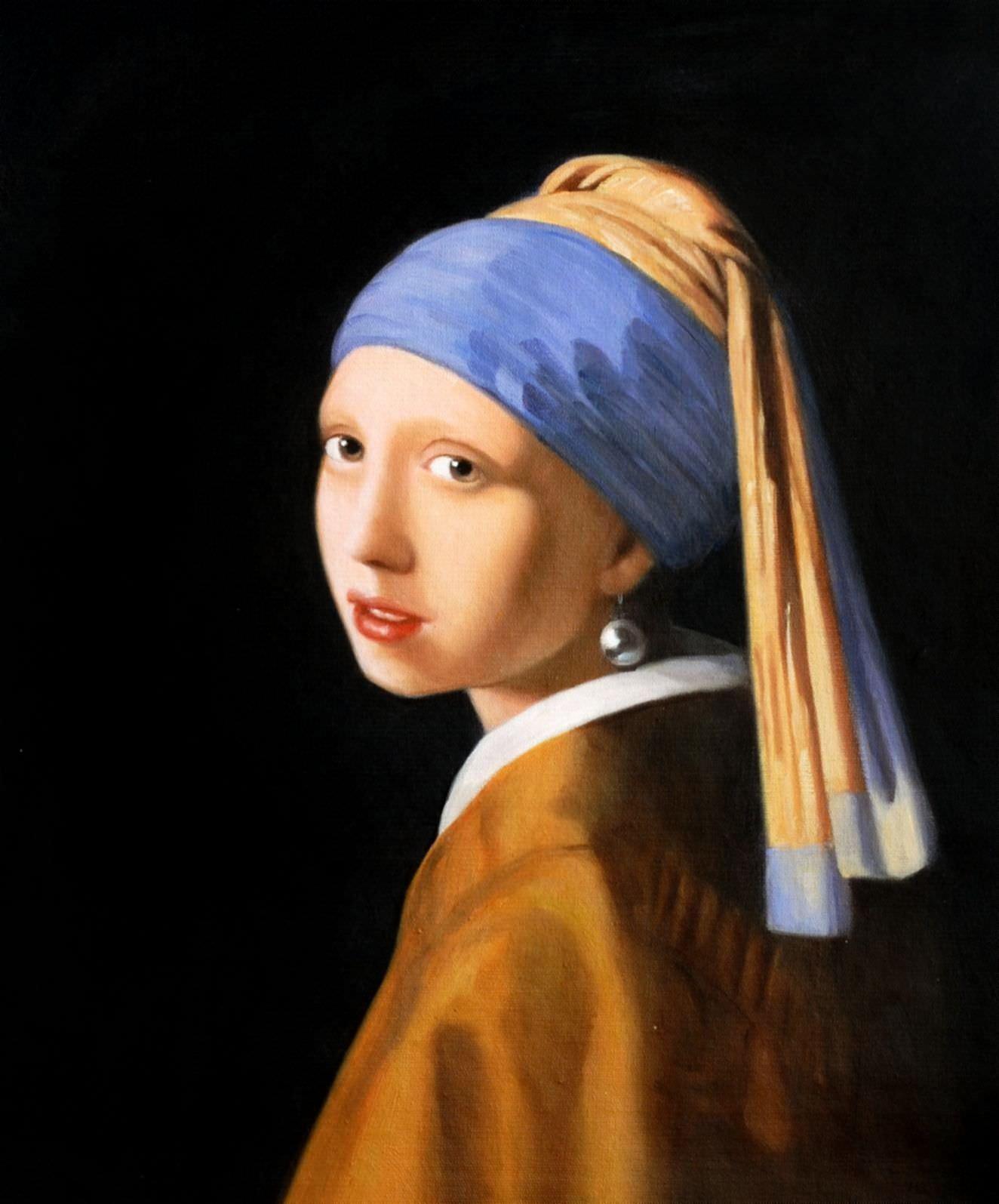Jan Vermeer - Das Mädchen mit dem Perlenohrring c91532 50x60cm ästhetisches Ölbild