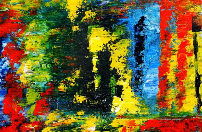 Abstrakt - Berlin an der Weltzeituhr d91167 60x90cm abstraktes Ölgemälde handgemalt