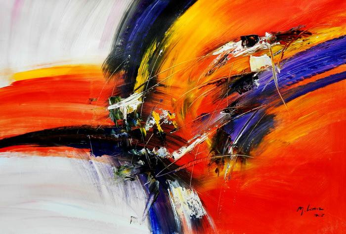 Abstract - Impact study d91183 60x90cm abstraktes Ölgemälde