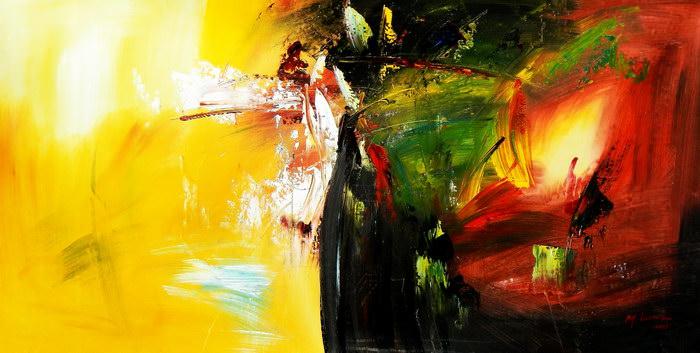 Abstract - Impact study f91271 60x120cm abstraktes Ölgemälde