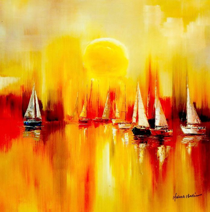 Segelboote auf dem Gardasee g91322 80x80cm modernes Gemälde handgemalt