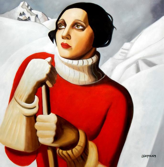 Homage to T. Lempicka - Sain Moritz g91337 80x80cm handgemaltes Gemälde