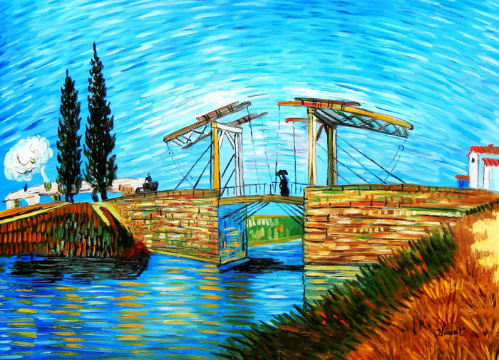 Vincent van Gogh - Brücke von Langlois bei Arles i91395 80x110cm Ölbild handgemalt