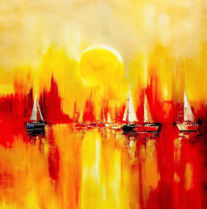 Segelboote auf dem Gardasee m91448 120x120cm modernes Gemälde handgemalt
