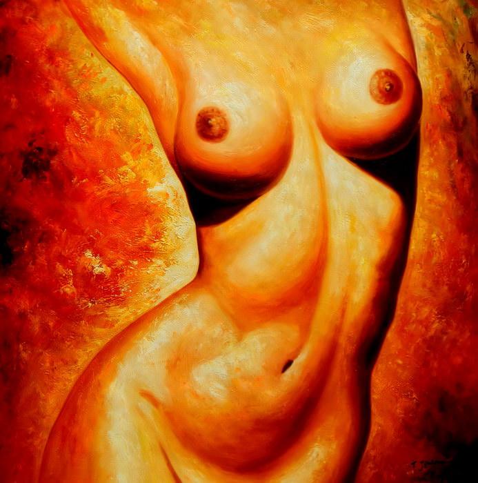 Modern Art - Frontside Nude m91461 G 120x120cm beeindruckendes Ölgemälde