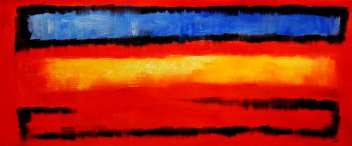 Bauhaus - Blau auf Gelb auf Rot t91484 75x180cm modernes Ölgemälde