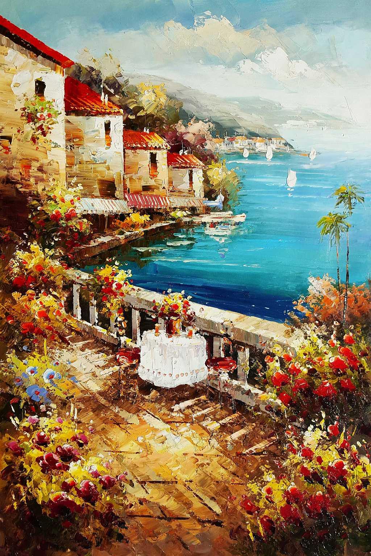 Hotelterrasse mit Meeresblick d95388 60x90cm abstraktes Gemälde handgemalt