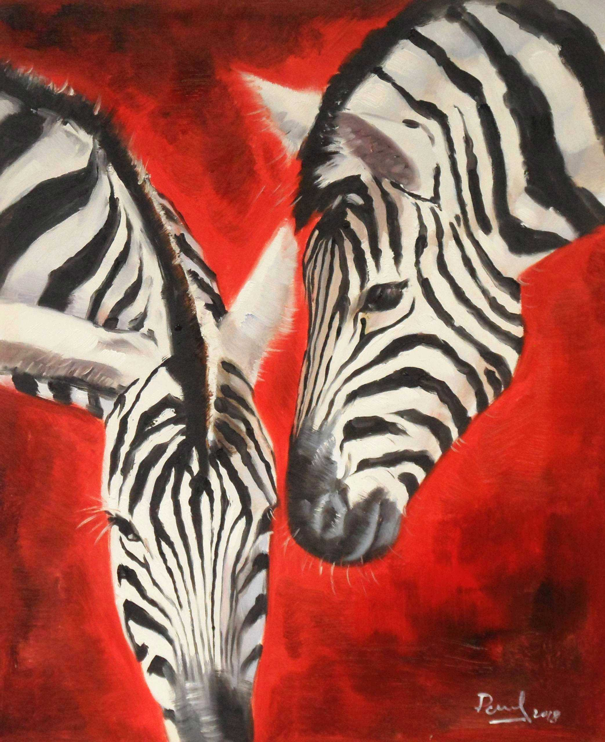 Modern Art - Angola wildlife c95410 50x60cm exzellentes Ölgemälde