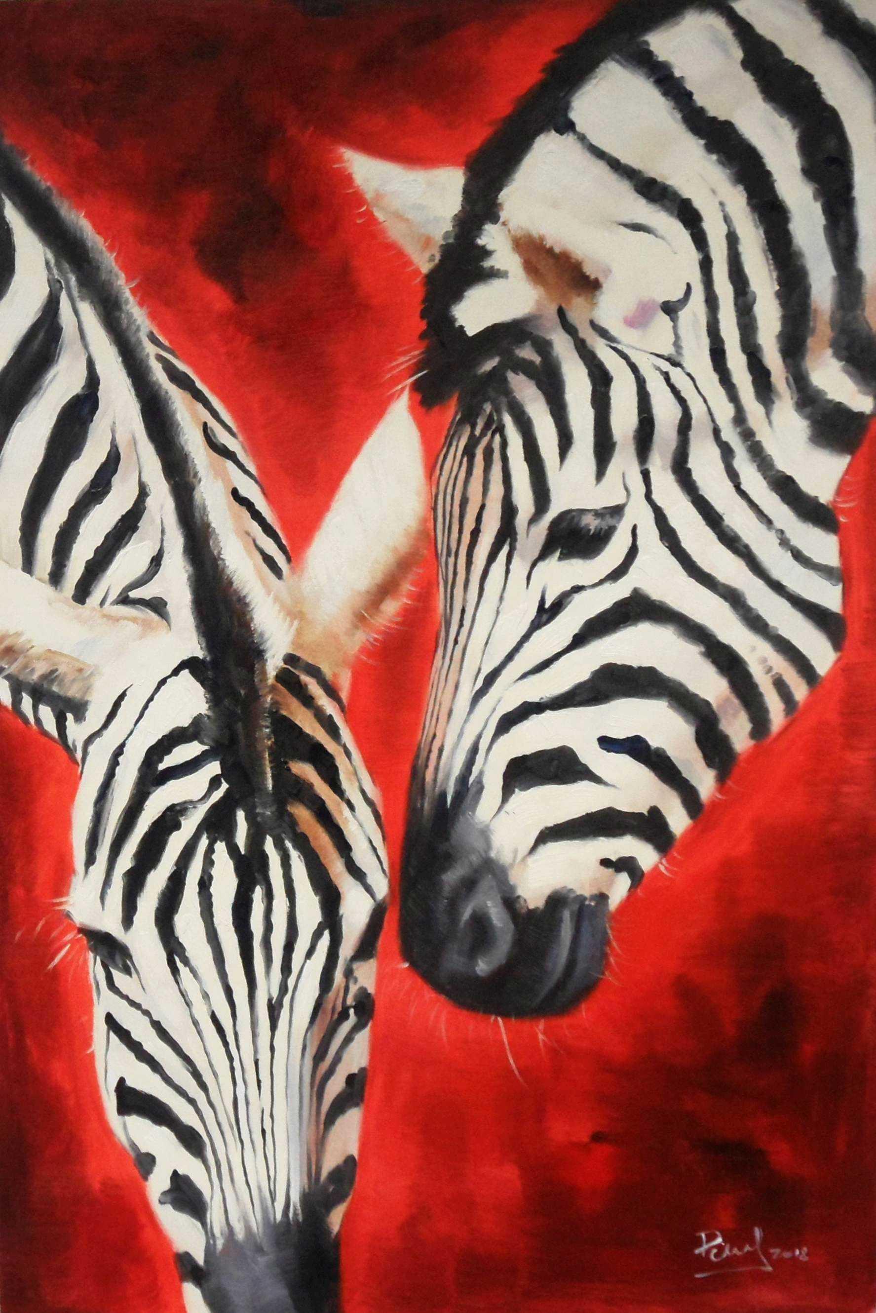 Modern Art - Angola wildlife d95435 60x90cm exzellentes Ölgemälde