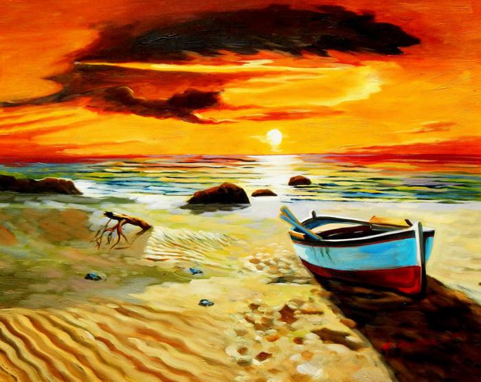 Sonnenuntergang am Strand von Sylt b91605 40x50cm exzellentes Ölgemälde