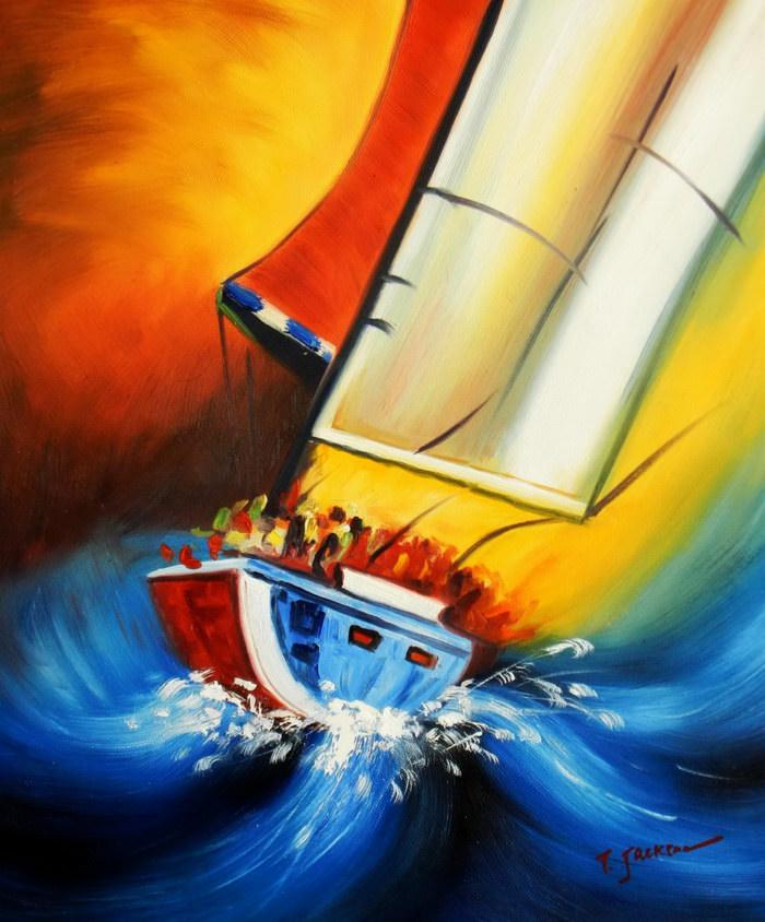 Segelschiff hart am Wind c91621 50x60cm beeindruckendes Ölgemälde