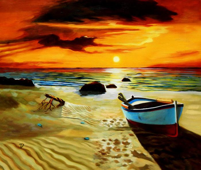 Sonnenuntergang am Strand von Sylt c91677 50x60cm exzellentes Ölgemälde