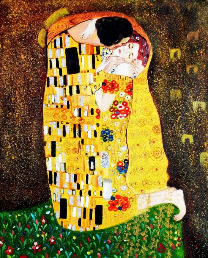 Gustav Klimt - Der Kuss c91972 50x60cm Jugendstil Ölgemälde handgemalt