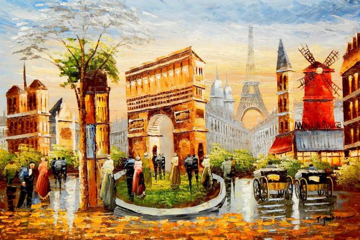 Modern Art Pariser Stadtleben im Sommer d91709 60x90cm Ölgemälde handgemalt