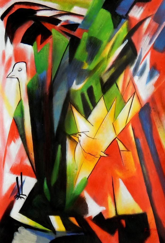 Franz Marc - Vögel d91741 G 60x90cm Expressionismus Ölbild handgemalt