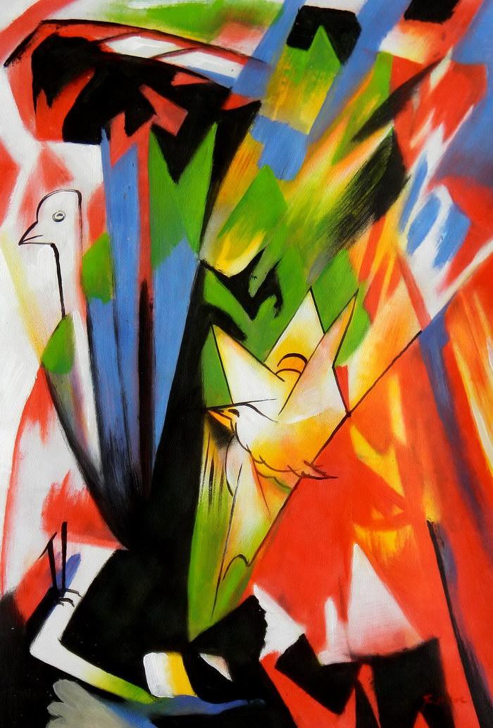 Franz Marc - Vögel d91746 60x90cm Expressionismus Ölbild handgemalt