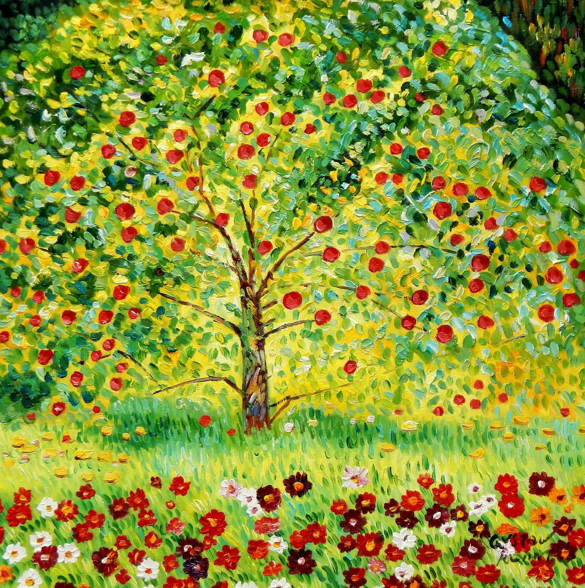 Gustav Klimt - Der Apfelbaum e92025 60x60cm bemerkenswertes Ölgemälde handgemalt