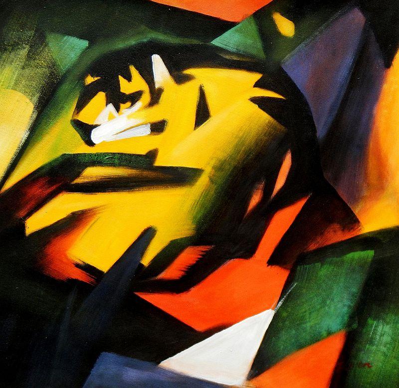 Franz Marc - Der Tiger e92026 60x60cm Expressionismus Ölgemälde handgemalt