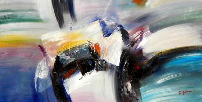Abstract - Impact study f91779 60x120cm abstraktes Ölgemälde