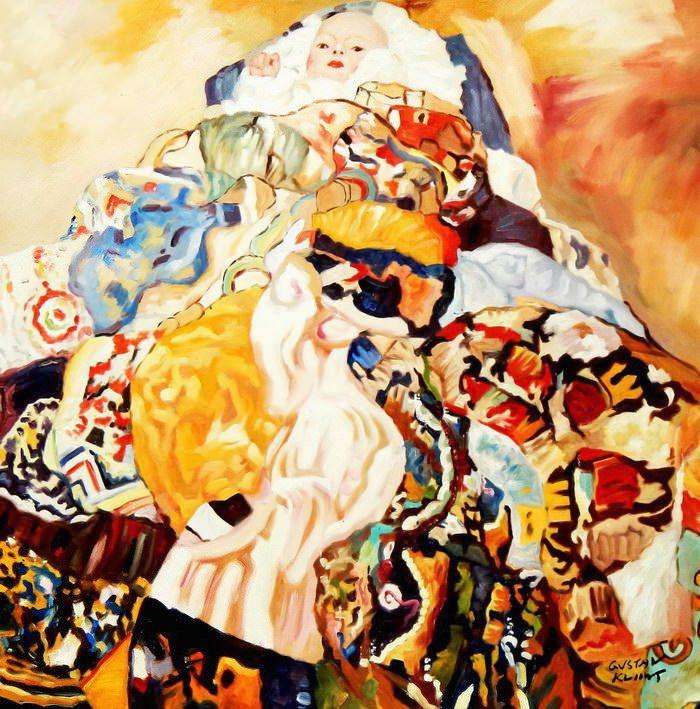 Gustav Klimt - Baby g91814 80x80cm beeindruckendes Ölbild