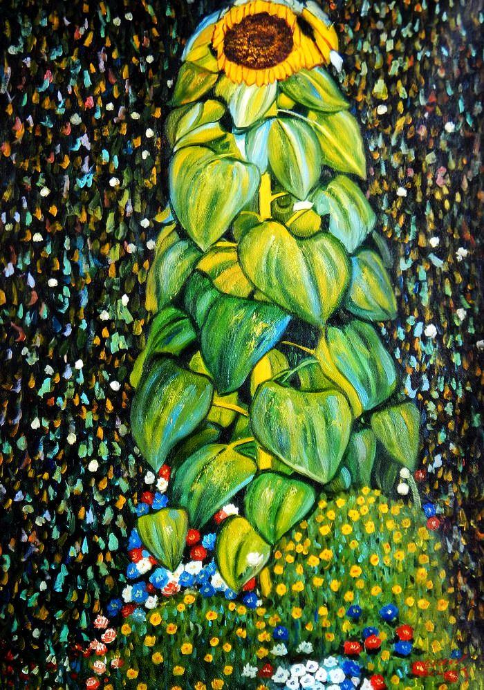 Gustav Klimt - Die Sonnenblume i91847 80x110cm handgemaltes Ölgemälde