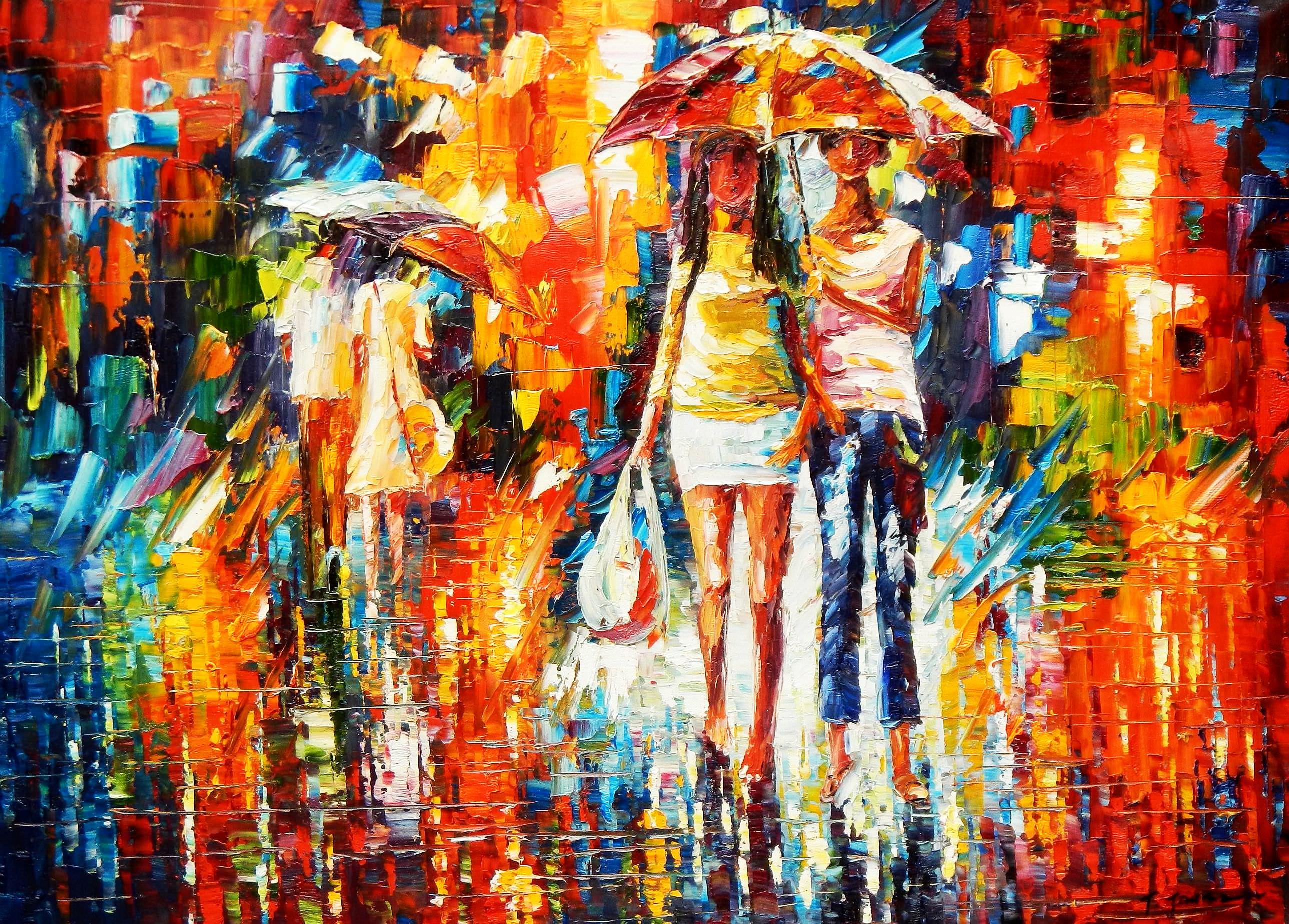 Modern Art - Umbrella walk i91863 80x110cm modernes Ölgemälde