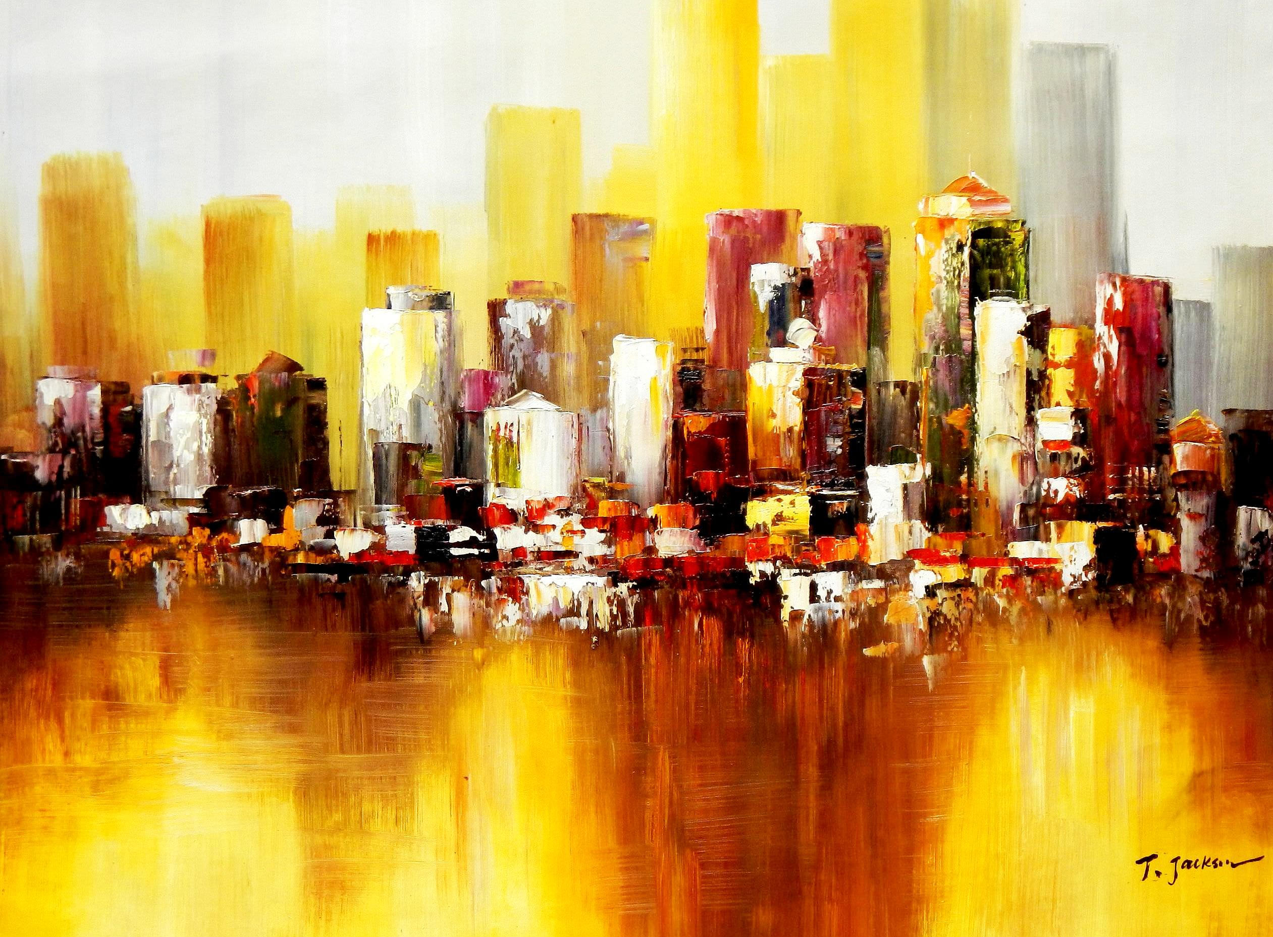 Abstrakt New York Manhattan Skyline im Herbst i91872 G 80x110cm abstraktes Ölbild