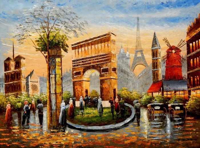 Modern Art Pariser Stadtleben im Sommer i91873 80x110cm Ölgemälde handgemalt