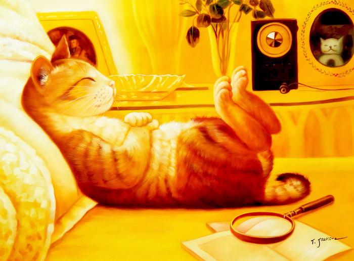 Modern Art - The chilling cat i91876 G 80x110cm putziges Ölgemälde handgemalt