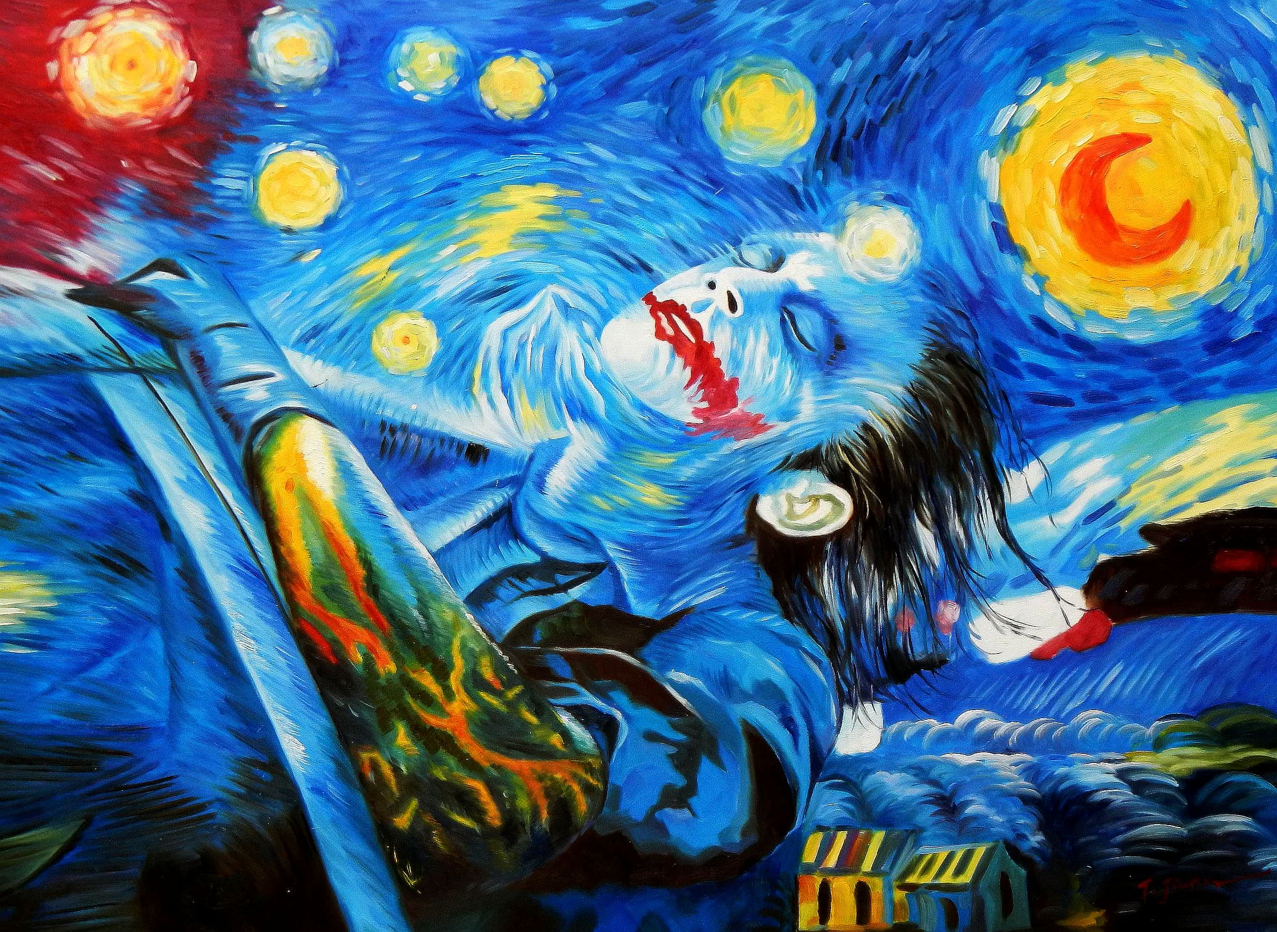 Modern Art - Joker meets starry night i91884 80x110cm exquisites Ölbild