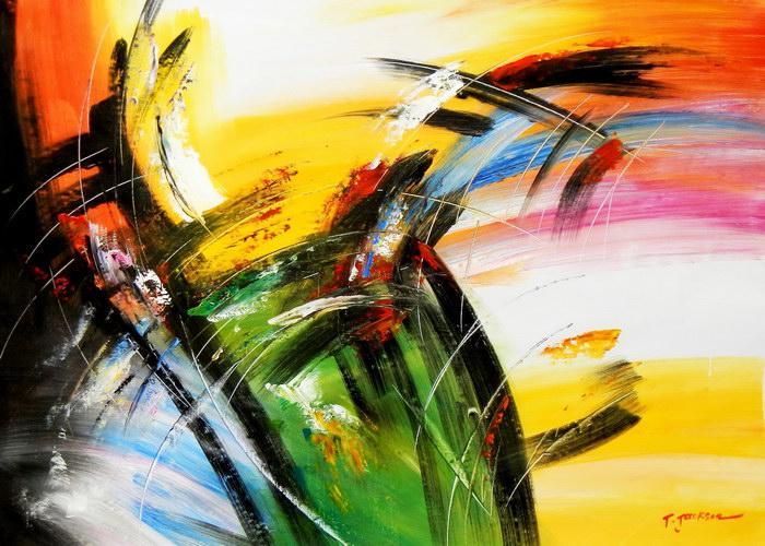 Abstract - Impact study i92058 G 80x110cm abstraktes Ölgemälde