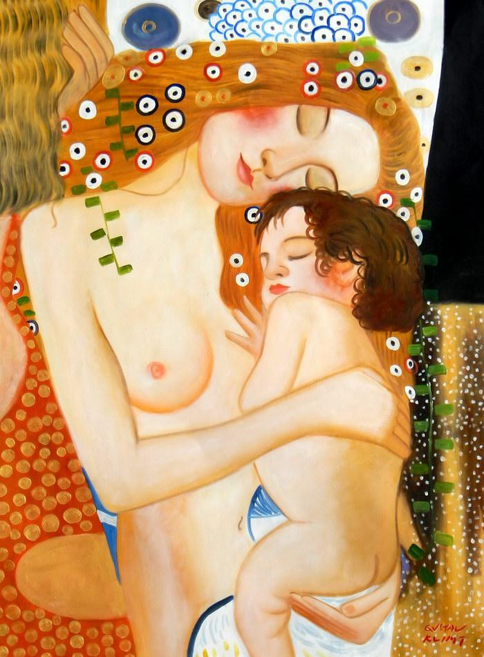 Gustav Klimt - Mutter mit Kind k91888 90x120cm Jugendstil Ölgemälde handgemalt