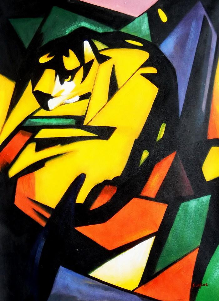 Franz Marc - Der Tiger k91891 90x120cm Expressionismus Ölgemälde handgemalt