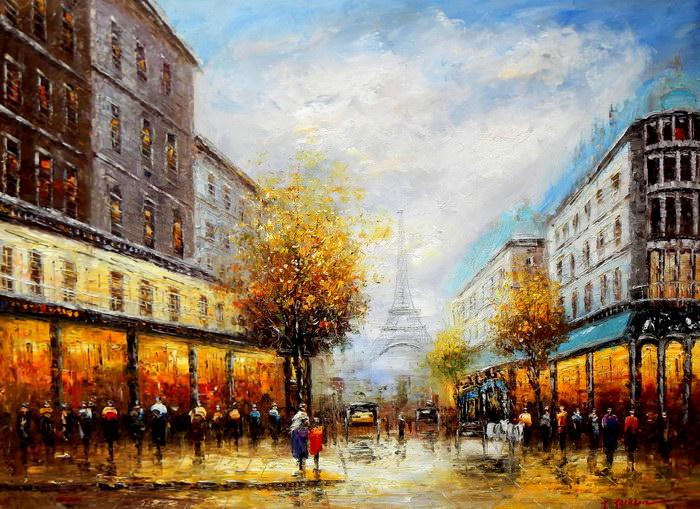 Modern Art - Paris Spaziergang im Sommer k91895 G 90x120cm Ölbild handgemalt
