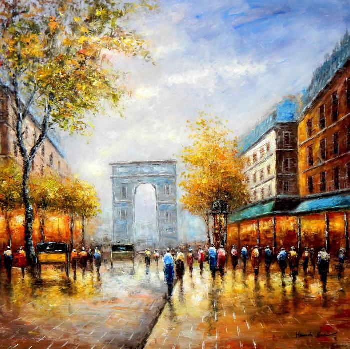 Modern Art - Sommer am Arc de Triomphe Paris m91938 120x120cm Ölbild handgemalt