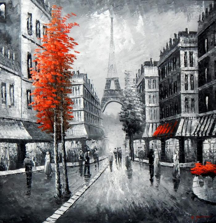 Modern Art - Paris Spaziergang am Abend m91952 120x120cm Ölbild handgemalt