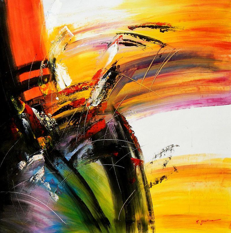 Abstract - Impact study m92072 120x120cm abstraktes Ölgemälde