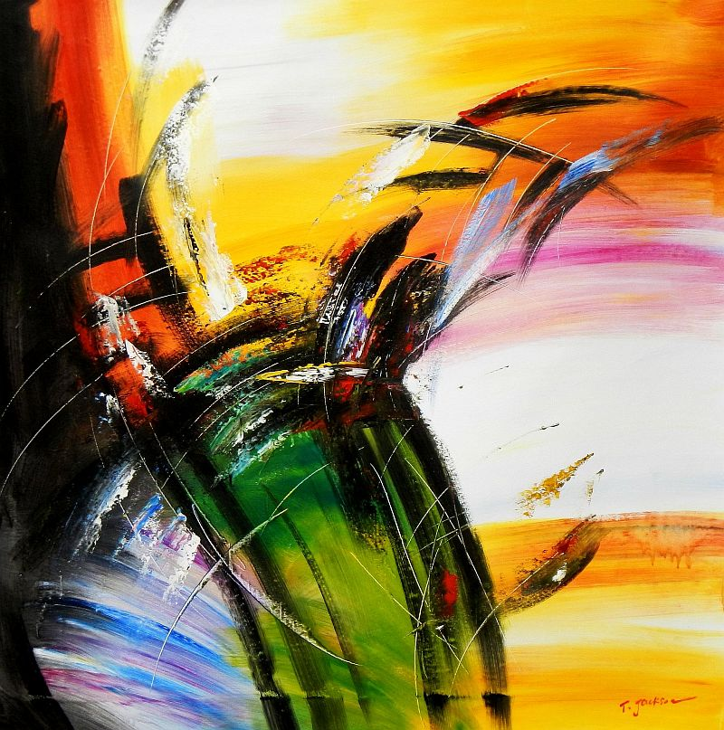 Abstract - Impact study m92073 120x120cm abstraktes Ölgemälde