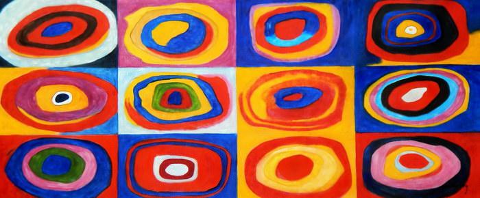 Wassily Kandinsky - Farbstudie Quadrate t91925 75x180cm exquisites Ölgemälde