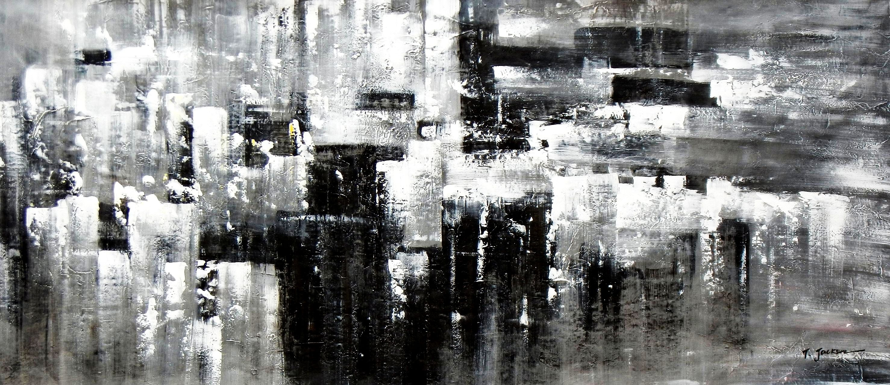 Abstrakt - Nacht in New York t92078 75x180cm Ölgemälde handgemalt