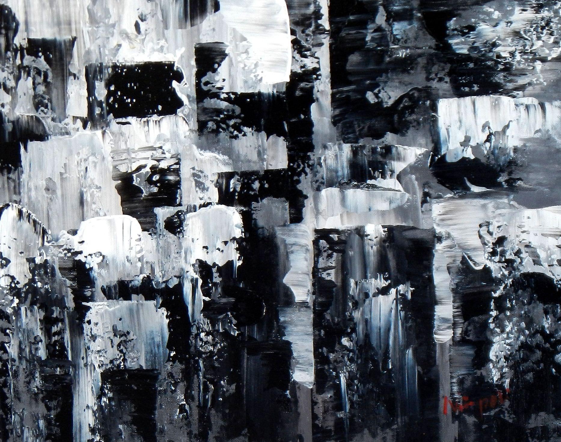 Abstrakt - Nacht in New York a93863 30x40cm Ölgemälde handgemalt