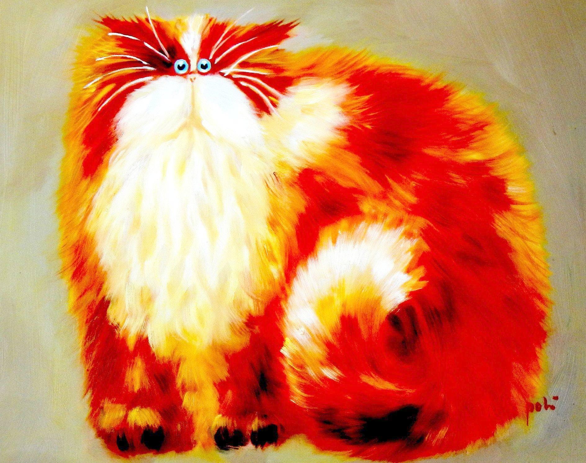 Pop Art - Pummel Kater Garfield a93864 30x40cm lustiges Ölbild handgemalt
