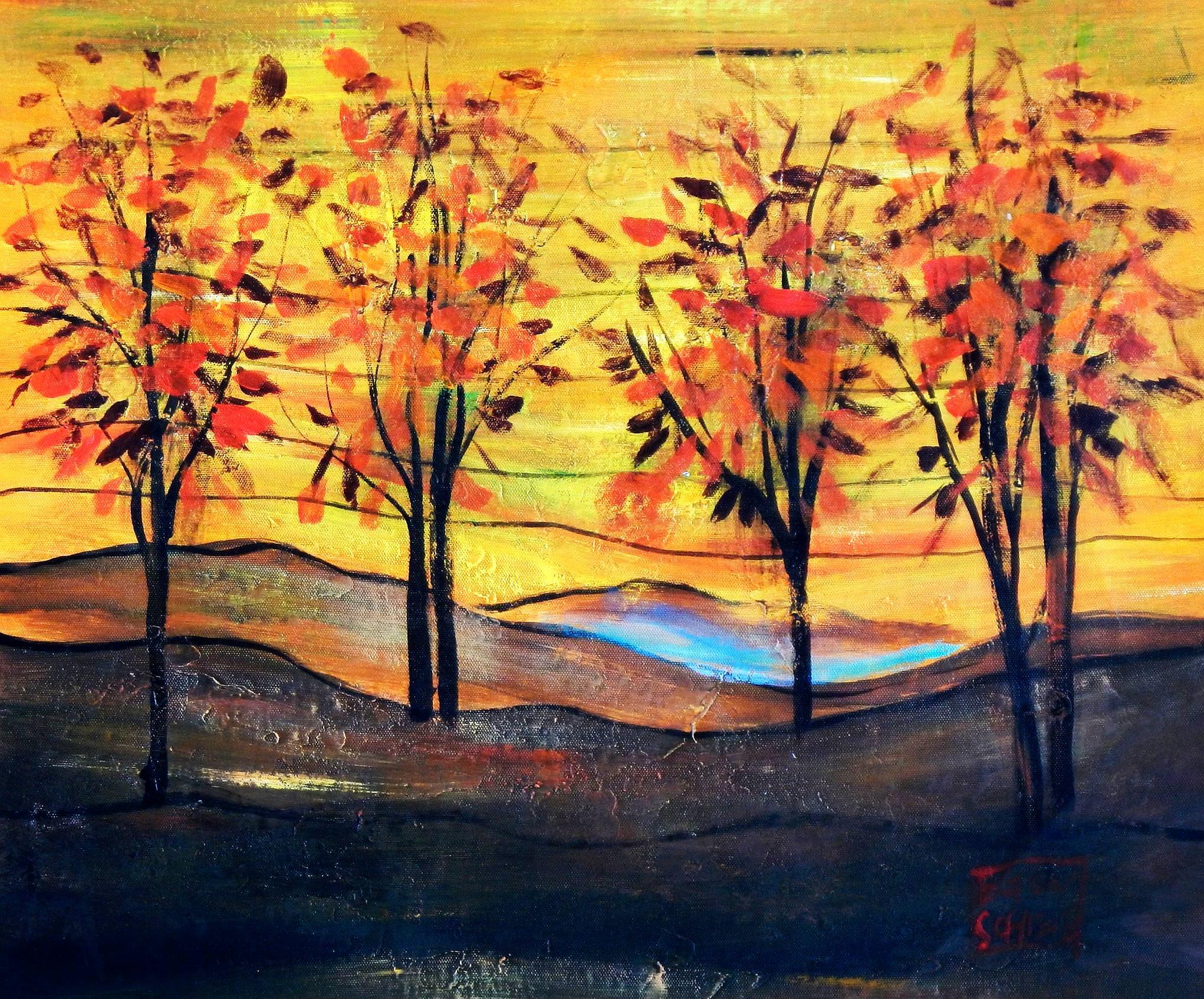 Egon Schiele - Vier Bäume b93878 40x50cm exzellentes Ölbild
