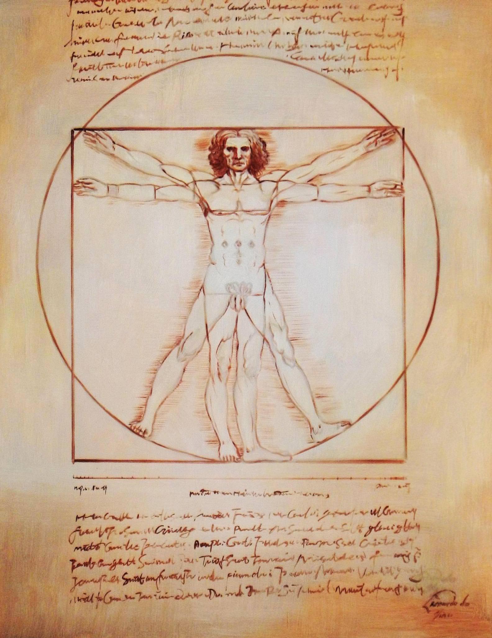 Leonardo da Vinci - Proportionsstudie c93887 50x60cm handgemaltes Ölgemälde